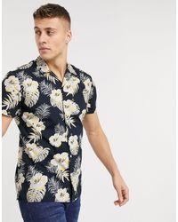 Jack & Jones Essentials Tropical Print Short Sleeve Shirt - Blue