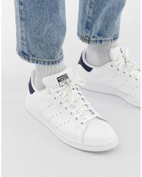 adidas Originals Stan Smith - Baskets en cuir - Blanc et bleu marine