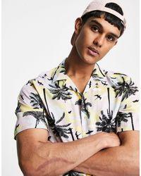 Only & Sons Short Sleeve Pastel Palm Tree Print Revere Shirt - Blue