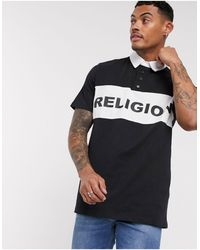 Religion Rugby Top With Block Panel Logo - Black