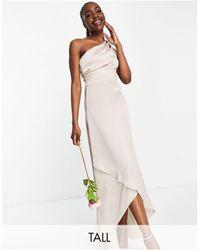 TFNC London Светло-коричневое Платье Макси На Одно Плечо Bridesmaid-розовый Цвет