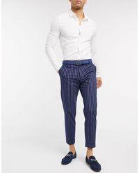Burton Pantaloni eleganti affusolati blu rigato