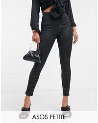 ASOS ASOS DESIGN Petite - Hourglass - Jean skinny effet sculptant rehaussant - enduit - Noir