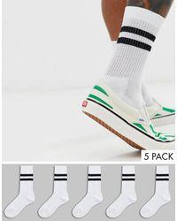 ASOS Набор Из 5 Пар Белых Спортивных Носков С Черными Полосками - Белый