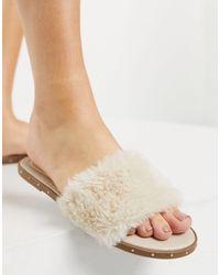 Pimkie Fur Sandal Slide - Natural