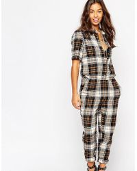 Noisy May Petite | Checked Boilersuit - Caramel | Lyst
