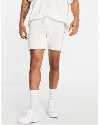 ASOS Short en maille texturée - Écru - Blanc