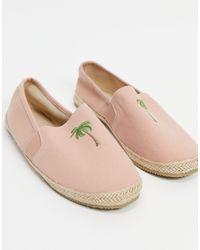 Brave Soul – espadrilles mit palmenprint - Pink