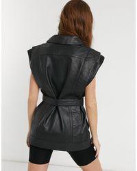 Object Leather Waistcoat - Black