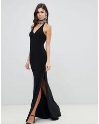 Forever Unique Plunge Halter Neck Maxi Dress - Black
