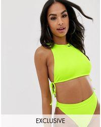 South Beach Mix En Match - Exclusieve Geribbelde Bikinitop - Geel