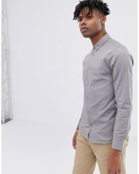 Only & Sons Poplin Button Down Shirt In Light Gray