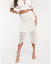 Significant Other Falda midi con bordado Malia - Blanco