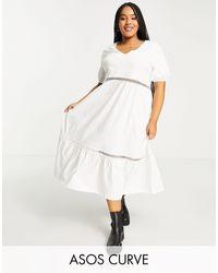 ASOS ASOS DESIGN Curve - Vestito midi con scollo a V bianco con finiture all'uncinetto - Multicolore
