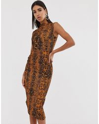 ASOS - Midi Pencil Dress With Tuck Detail In Snake Print - Lyst