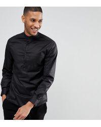 Noak Half Placket Grandad Shirt - Black