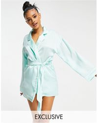 Missguided Satin Robe With Embroidered Logo - Green