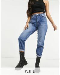 Bershka Petite – Mom-Jeans - Blau