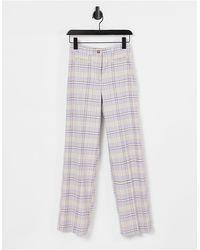 Monki Stacy - pantalon évasé d'ensemble à carreaux - lilas - Violet
