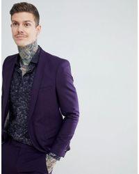Noose And Monkey Giacca da abito super skinny in misto lana viola