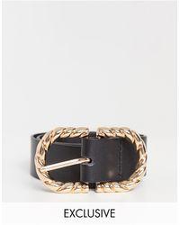 Glamorous Exclusivité - Ceinture taille et hanches pour jean avec boucle métallique torsadée - Doré - Noir