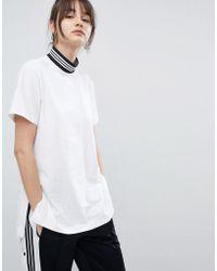 adidas Originals - Originals Adicolor Longline T-shirt With Three Stripe High Neck - Lyst