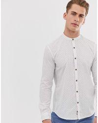 Tom Tailor - Overhemd Zonder Kraag Met Fijne Print In Wit - Lyst