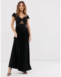 ASOS - Черное Плиссированное Платье Макси С Кружевом И Открытыми Плечами - Lyst
