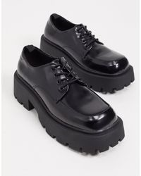 Truffle Collection Chunky Lace Up Shoes With exaggerated Sole - Black
