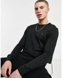 Farah Worthington - T-shirt à manches longues en coton biologique - Noir