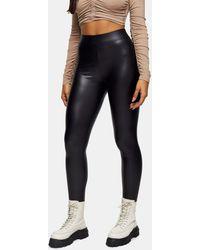 TOPSHOP Coated Faux Leather Leggings - Black