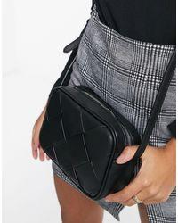 Stradivarius Woven Cross Body Bag - Black