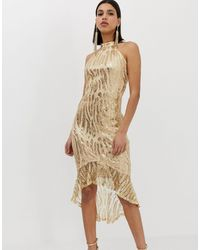AX Paris Платье Миди С Пайетками И Высоким Воротом -золотой - Многоцветный