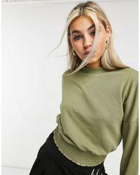 Noisy May Sudadera caqui con cintura fruncida - Verde