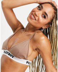 Missguided Playboy Triangle Bra - Brown