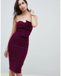 Girl In Mind - Knot Front Strapless Midi Dress - Lyst