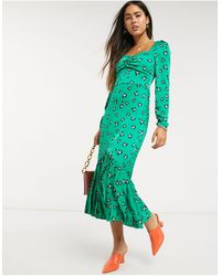 Liquorish Vestido estilo campesina - Verde