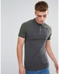 ASOS - Muscle Fit Raglan Polo With Cut And Sew Panel - Lyst