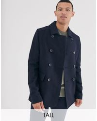 French Connection Tall Wool Blend Pea Coat - Blue
