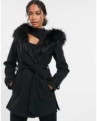 River Island Short Robe Jacket With Faux Fur Hood - Black
