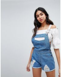 Missguided - Contrast Distressed Overalls - Lyst