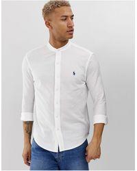 Polo Ralph Lauren Белая Приталенная Рубашка Из Пике С Логотипом -белый