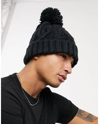 French Connection Cable Bobble Beanie - Blue