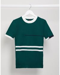 River Island Knitted Blocked T-shirt - Green