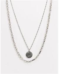 ASOS Collier chaîne multirangs avec pendentif coin - Argent poli - Métallisé