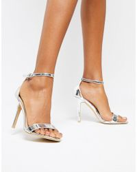 Glamorous - Silver Mirror Barely There Heeled Sandal - Lyst