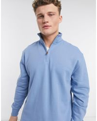 TOPMAN – Sweatshirt mit kurzem Reißverschluss - Blau