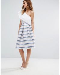 Closet - Closet Prom Skirt In Metallic Stripe Jaquard - Lyst