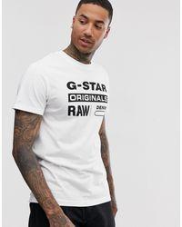 G-Star RAW Originals - T-shirt bianca con logo - Bianco