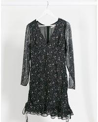 The East Order Casi Floral Mini Dress - Black